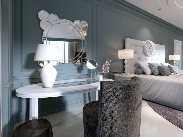 Classica toletta bianca con specchio rotondo e poltrona morbida in camera da letto. rendering 3d