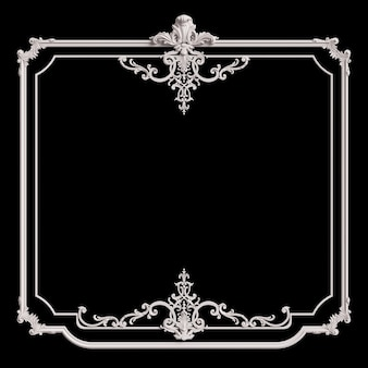 Cornice bianca classica con decorazioni di ornamento isolato su priorità bassa nera. illustrazione digitale. rendering 3d