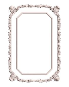 Cornice bianca classica con decorazioni di ornamento isolato su priorità bassa bianca. illustrazione digitale. rendering 3d