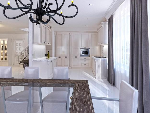 Classica cucina-sala da pranzo bianca in stile art déco. grande tavolo da pranzo per otto cucine componibili con elettrodomestici integrati. rendering 3d.