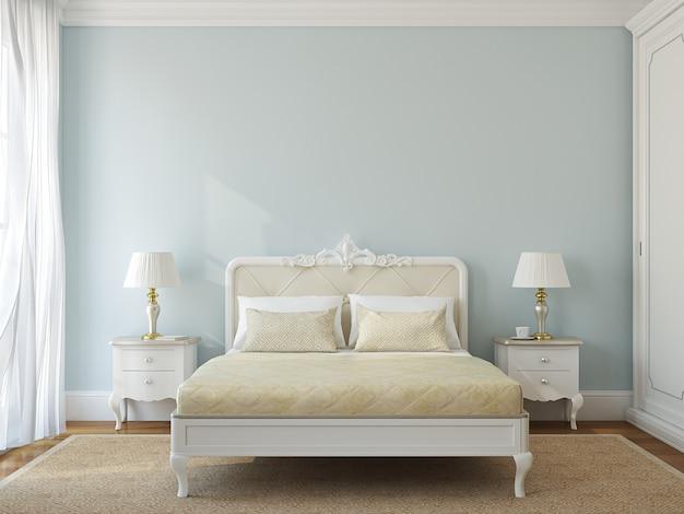 Interno camera da letto classica. rendering 3d.