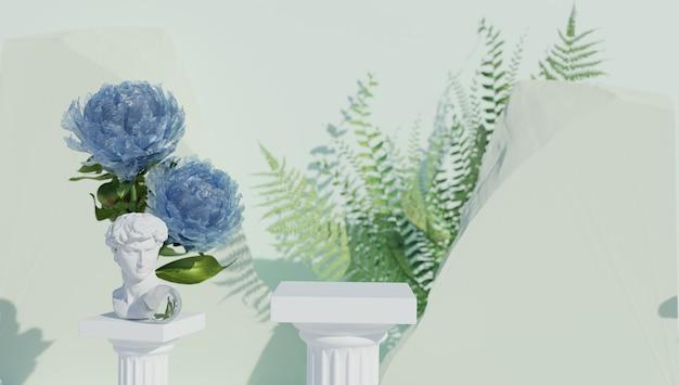 Sfondo in stile greco classico con fiori e sculture in marmo per l'esposizione del prodotto sfondo sfocato...