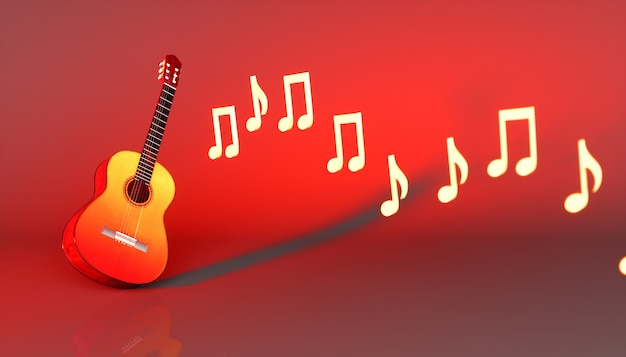 Chitarra classica su uno sfondo rosso, 3d'illustrazione