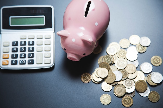 Clculator con salvadanaio e monete