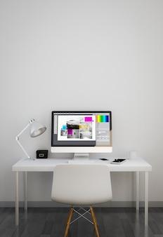 Area di lavoro pulita con software di progettazione grafica sullo schermo