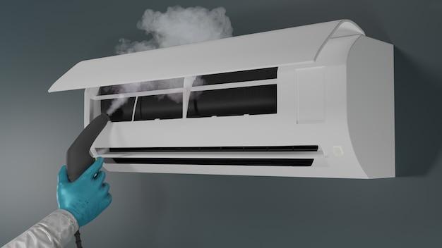 Pulizia del condizionatore d'aria con rendering 3d a vapore