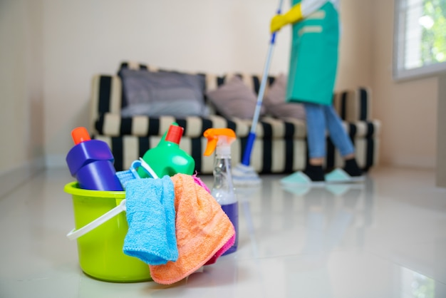 Servizio di pulizia. spugne, prodotti chimici e mop