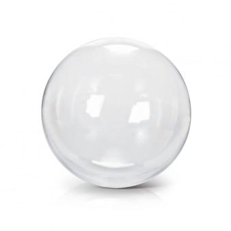 Illustrazione della palla 3d di vetro trasparente su fondo bianco