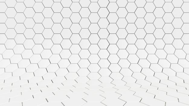 Modello chiaro sfondo astratto studio esagono muro bianco, carta da parati futuristica.