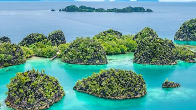Cliff islands intorno a peanemo, raja ampat, papua occidentale, in indonesia