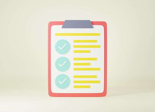 Elenco di controllo degli appunti elenco di fogli di indagine segni di spunta rapporto documento 3d rendering illustrazione