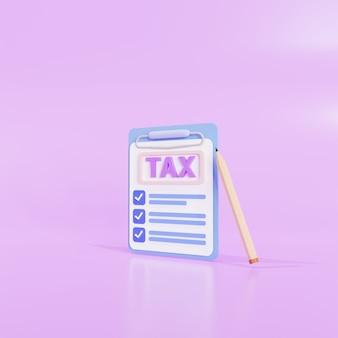 Clipboardicon pagamento delle tasse e concetto di imposta aziendale e modulo fiscale. illustrazione 3d