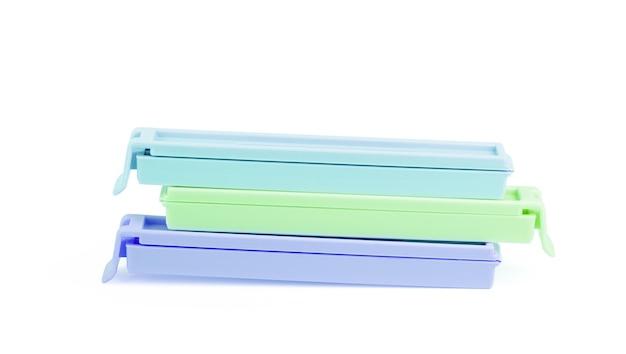 Clip per pacchi su sfondo bianco