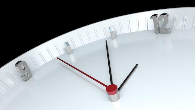 Vista di dettaglio dell'orologio isolata su sfondo nero. illustrazione 3d