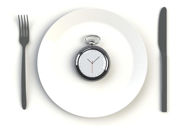 Cronometri sul piatto, sul coltello e sulla forcella sulla tavola bianca, rappresentazione 3d