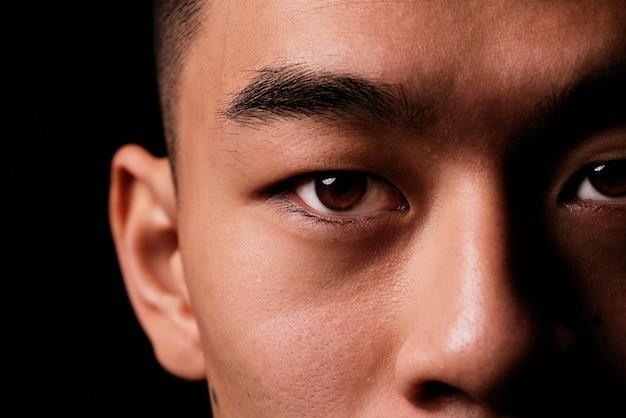 Vicino dettaglio dell'occhio di un uomo asiatico. concetto di persone asiatiche.