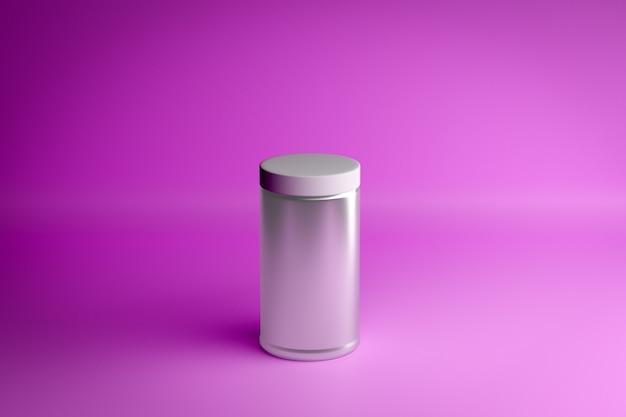 Illustrazione al neon 3d del primo piano. vaso di vetro con un tappo a vite su uno sfondo rosa. rendering minimalista con un cilindro grigio