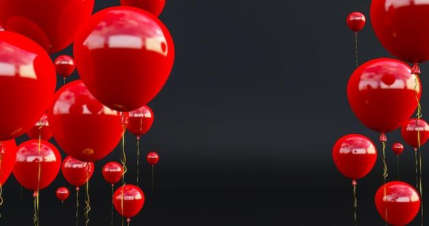 Close up e abstract di 3d palloncini rossi, 3d rendering, palloncini rossi isolati su sfondo nero.