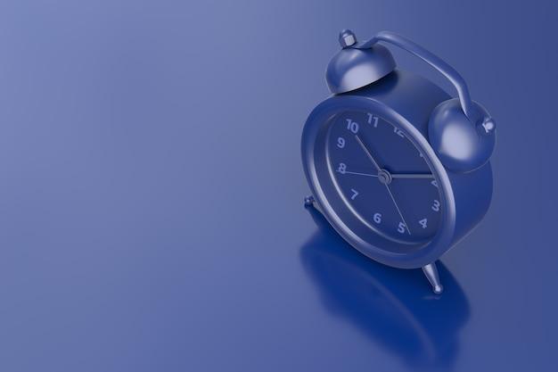 Close up sveglia su sfondo blu scuro. rendering 3d