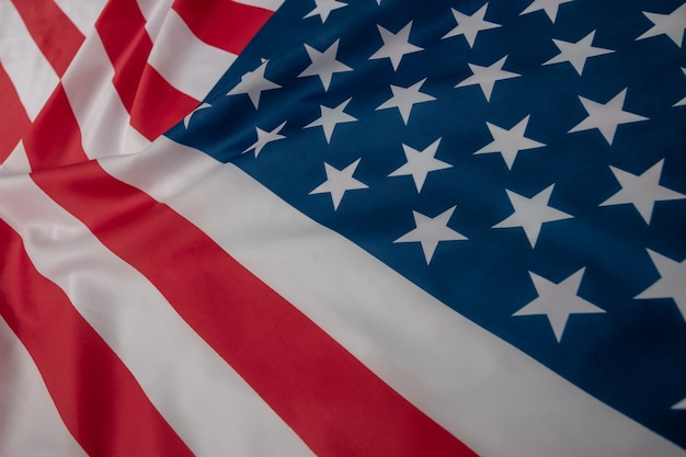 Bandiera americana del primo piano, fondo della bandiera di usa con lo spazio della copia. vista dall'alto