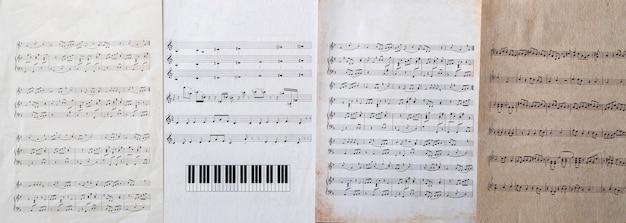 Un vecchio foglio di carta antico ravvicinato con note musicali arti di cultura classica