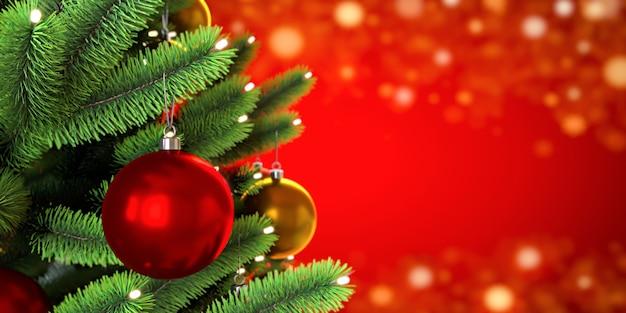 Primo piano di palline sull'albero di natale. ghirlande di bokeh sullo sfondo rosso. anno nuovo concetto. illustrazione di rendering 3d.