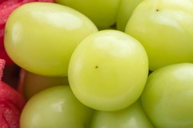 Chiuda in su dell'uva verde del moscato del santuario in scatola bella isolata su bianco