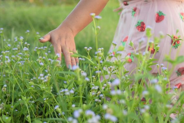 Chiuda sulla bella ragazza cammina sul campo verde