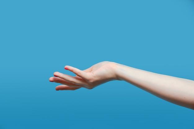 Primo piano della mano della bella donna isolata sul tavolo blu. palmi in alto e copia lo spazio