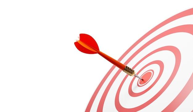 Primo piano di un occhio di bue con un dardo rosso, ha colpito il bersaglio, successo. un bersaglio con cerchi rossi e bianchi. illustrazione 3d