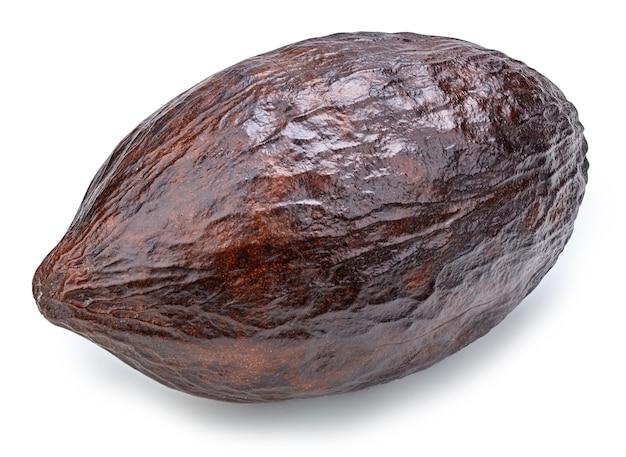 Primo piano sul baccello di frutti di cacao isolato