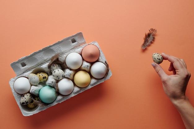 Close-up di pollo e uova di quaglia nella scatola dipinta per le vacanze di pasqua