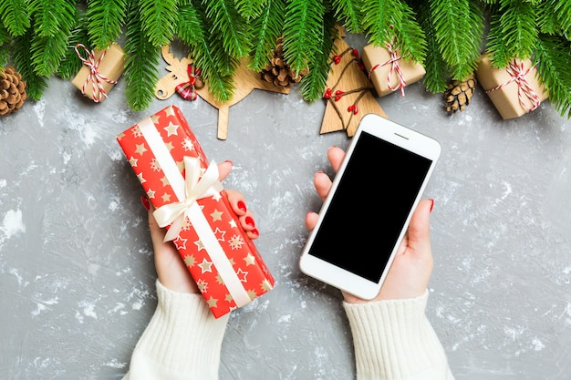 Primo piano del contenitore di regalo di natale