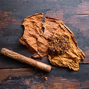 Primo piano sul sigaro e foglia di tabacco essiccato