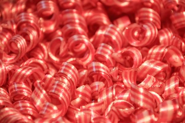 Close-up di caramelle colorate a spirale