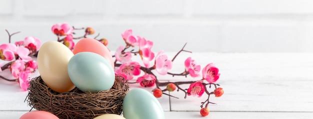 Close up di colorate uova di pasqua nel nido con prugna rosa fiore sul bianco brillante tavolo in legno superficie.