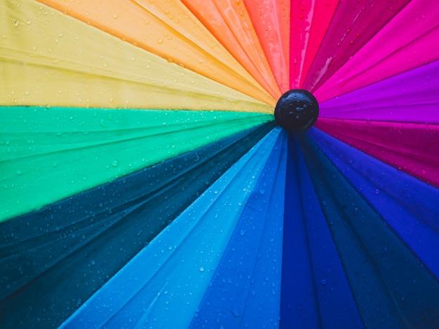Close-up di ombrelli colorati e gocce di pioggia, vista dall'alto