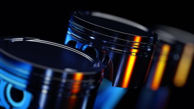 Primo piano sul concetto di pistoni del motore in metallo