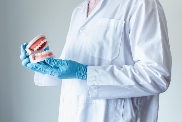 Primo piano del medico ortodontico dentale