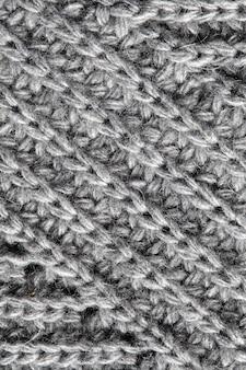 Close up dettaglio di lana lavorata a maglia