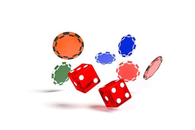 Primo piano di rotolamento dei dadi e chip isolati su sfondo bianco. concetto di gioco d'azzardo.