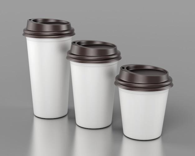 Bicchieri di plastica usa e getta di close-up di rendering 3d di diverse dimensioni.