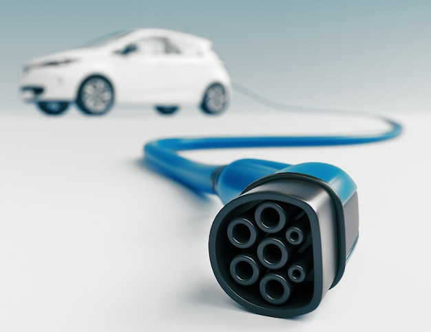 Chiuda in su dell'automobile di ricarica della spina del veicolo elettrico isolata su bianco. rendering 3d
