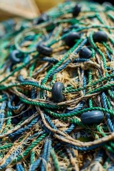 Primo piano delle reti da pesca. professione di pesca. pesca industriale.