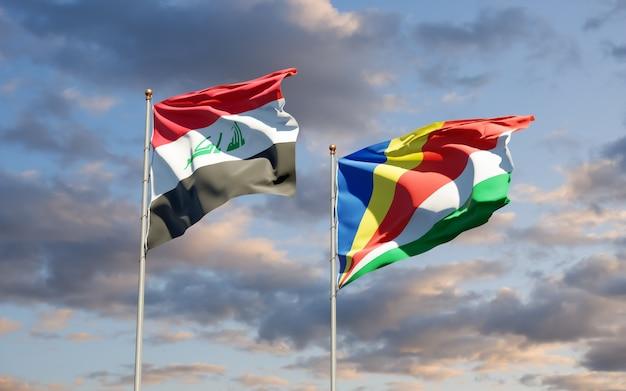 Primo piano sulle bandiere dell'iraq e delle seychelles