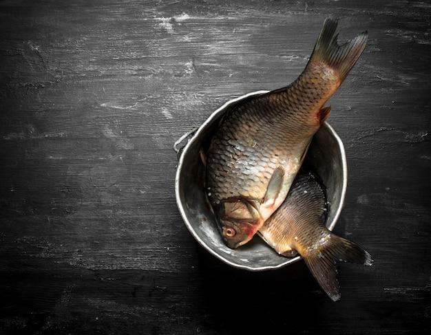 Primo piano sul pesce fresco nella vecchia pentola