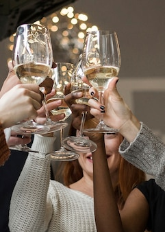 Gruppo di amici del primo piano che tostano i bicchieri di vino