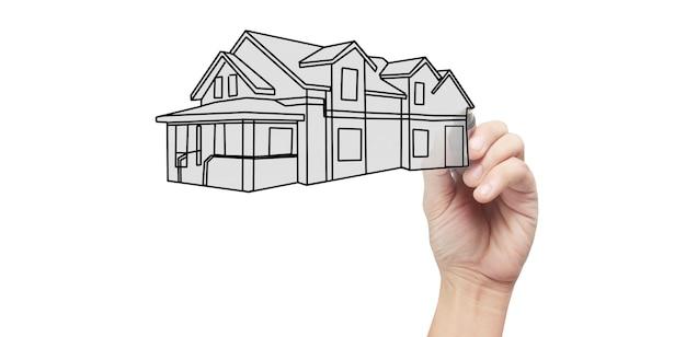 Chiuda sul modello della casa dell'illustrazione della mano