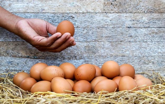Chiudere la mano dell'agricoltore che sceglie le uova di gallina per cucinare sul nido di paglia