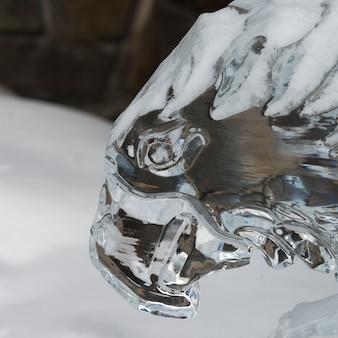 Primo piano della scultura di ghiaccio del falco, lake louise, alberta, canada